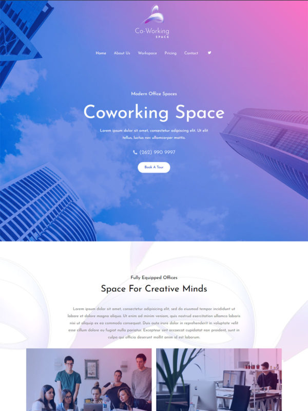 Coworking Space Web Site Template