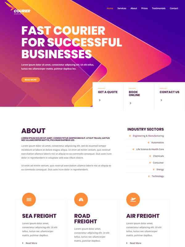 Courier Web Site Template