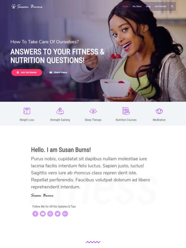 Health Coach Web Site Template