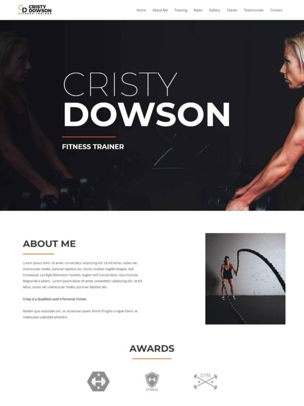 Personal Fitness Trainer Web Site Template