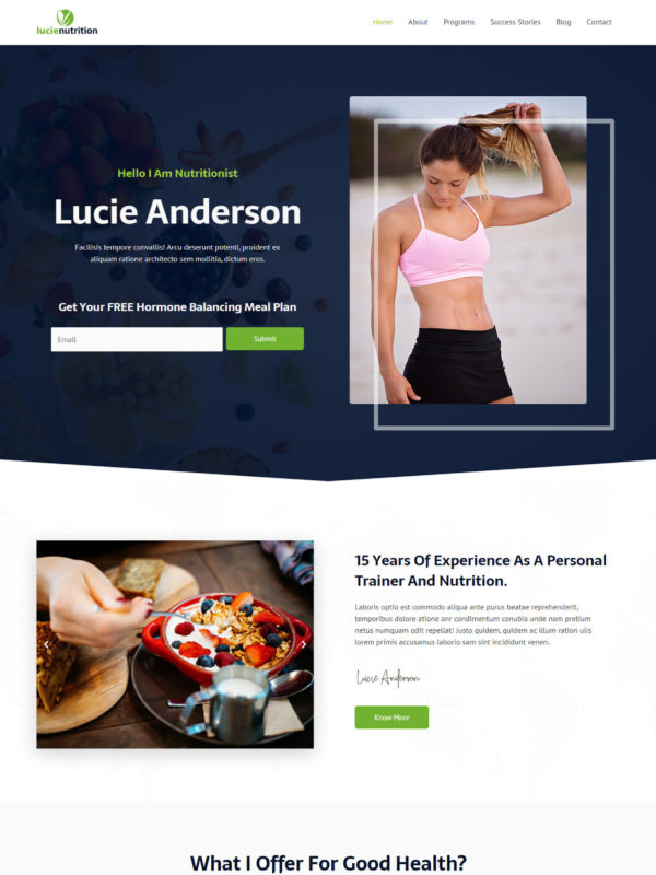 Nutritionist Web Site Template