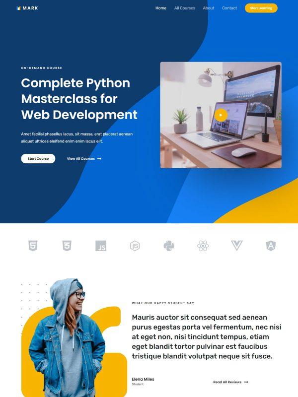 Online Coding Course Web Site Template