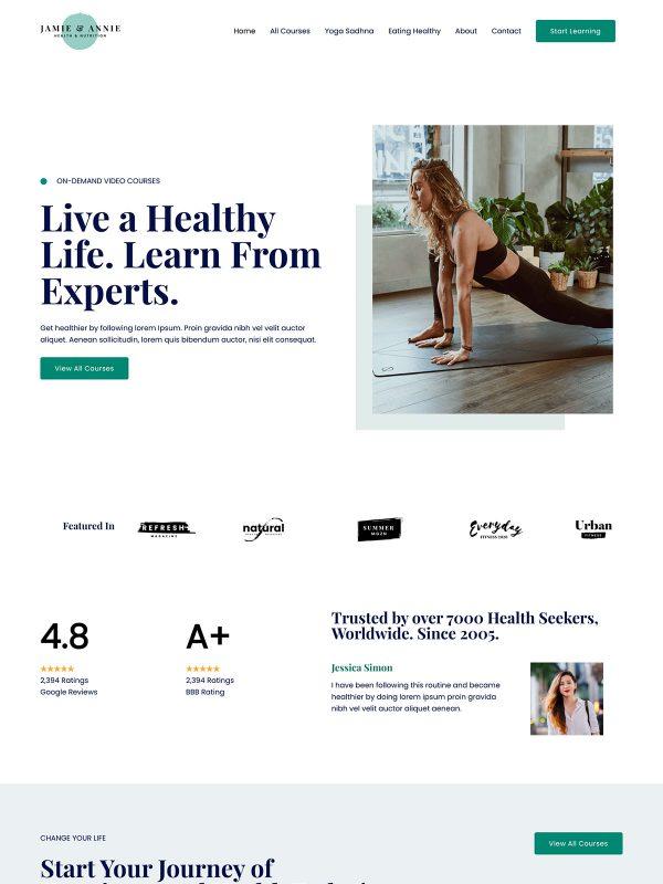 Online Health Coach Web Site Template