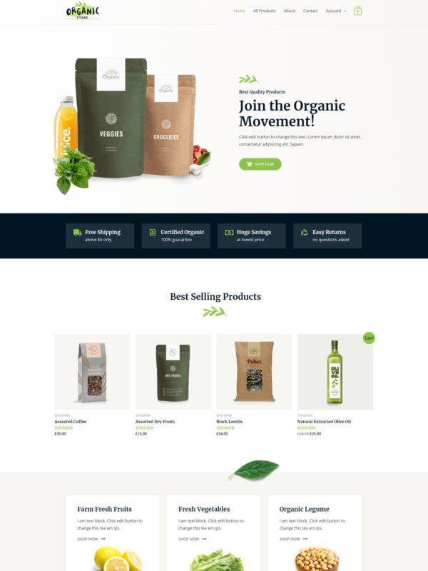 Organic Store Web Site Template