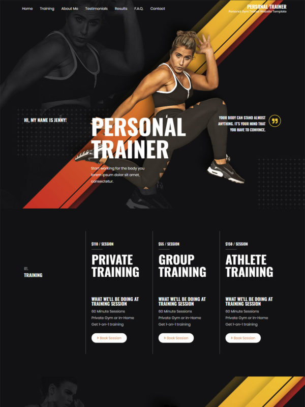 Personal Trainer Web Site Template