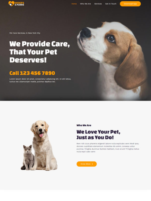 Pet Services Web Site Template