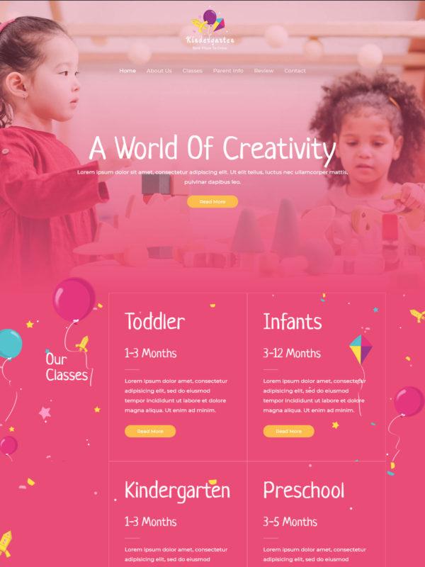 School Kindergarten Web Site Template